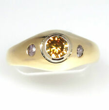 1.00 ct Fancy Color Diamond 3 stone ring size 12 GIA report 14K Gold DK Design