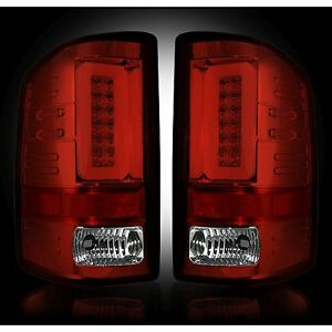RECON 264298RBK Chevy Silverado 16-17 1500 2500 3500 Red-Smoked Tail Lights LED