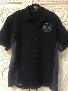 Boardroom Powerflex Embroidered Button Down 2 Tone Drag Racing SHIRT XL Mint !