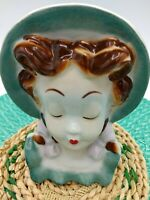 Royal Kopley Headvase Vintage, Pigtail Girl Green Bonnet/Dress Lilac Bows, Pouty