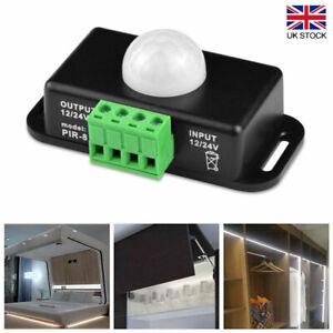 DC 12V/24V Automatic Body Infrared PIR LED Light Strip Motion Sensor Switch UK