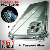 Case For iPhone 11, 11 Pro MAX Clear Cover + Tempered glass screen protector
