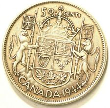 1944 Canada 50 Cents Die Crack Through Date Variety Silver #6081