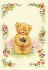 'Teddy Flowers' Greeting Card (Handcrafted Design with Free Options)