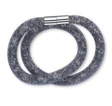 Swarovski ELEMENTS Fashion Stardust Mesh Magnetic Double Bracelet Grey Necklace