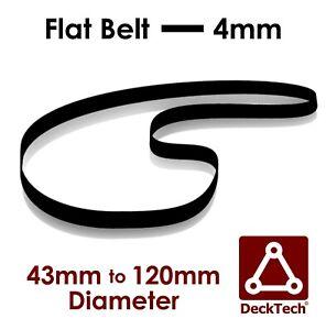 DeckTech 4mm Flat Belt 43mm - 120mm Ø Inner Diameter Rubber Motor Drive
