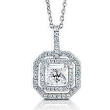 Sterling Silver .925 CZ Women's Princess Cut Fashion Pendant Necklace With Chain