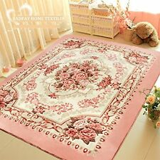 Romantic Pink Rose Rug For Living Room,American Country Style Carpet Bedroom Mat