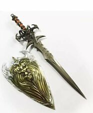 2Pcs Set Wow Frostmourne Cosplay Metal Sword Weapon Shield Knife Cosplay Toy