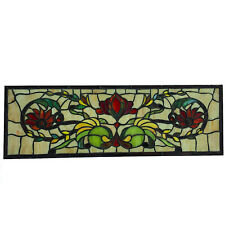 Stained Glass Window Pane in Hand Made Leaded Glass with Floral Pattern Big