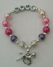 Personalised Girls Bracelet-Horse Charm/ Equestrian/Birthday/Easter Gift