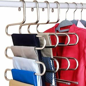 DOIOWN S-Type Stainless Steel Clothes Pants Hangers Closet Storage Organizer