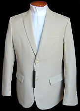 Men's PERRY ELLIS Khaki Stone Cotton Linen Jacket Blazer 46 REG 46R NWT Slim Fit