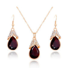 18k GP Crystal Ruby Red Gemstone Necklace Earring Dangle Charm Lady Jewelry Set