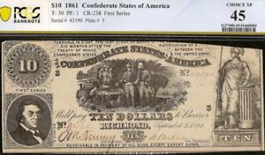 1861 $10 DOLLAR CONFEDERATE STATES CURRENCY CIVIL WAR NOTE MONEY T-30 PCGS 45