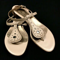 COLE HAAN Sz 8 SANDALS Womens Ivory Ankle & Back Strap Shoe Leather Upper & Sole