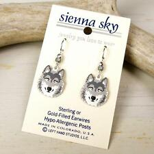Sienna Sky Earrings Sterling Silver Hook Hand Painted Gray Wolf Handmade in USA