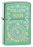 Zippo Follow Your Way Compass High Polish Green Windproof Pocket Lighter, 49161