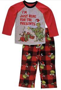 Grinch Boys Long Sleeve Long Pant 2Pc Pajamas Set Red MEDIUM (8) Size