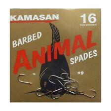 4 pks Kamasan Animal Spade Barbed Strong Hooks Coarse Carp Barbel Tench Fishing