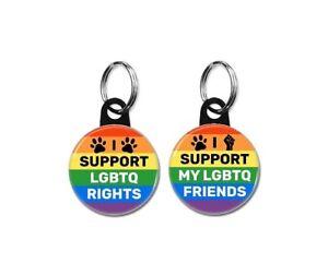 LGBTQ Pet Id tags (25mm,1inch, dog tags, collar, gay pride, rainbow flag)