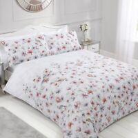 Sleepdown Pretty Floral Birds Reversible Duvet Cover Bedding Pillowcase Set
