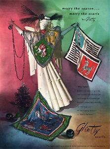 Glentex Silk Scarfs TIMID LION Capering Unicorn PUSS IN THE PARLOR 1947 Print Ad