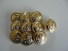 10 x GOLD COLOURED METAL ANCHOR BUTTONS SIZE 24 (14mm)