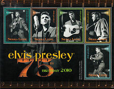 Sierra Leone 2010 MNH Elvis Presley 75th Bday 5v M/S Celebrities Music Stamps