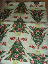 Shabby romantic chic quail and Christmas tree holiday table runner chic decor