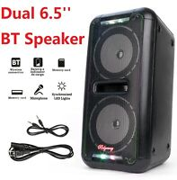 Dual 6.5'' Bluetooth Wireless Speaker Party Loud Heavy Bass Sound LED Light