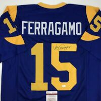Autographed/Signed VINCE FERRAGAMO Los Angeles LA Blue Football Jersey JSA COA