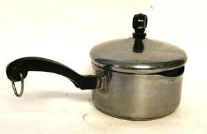 Vintage Farberware 1Qt Quart Sauce Pan Pot Lid Aluminum Clad Stainless Steel USA