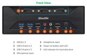 Shuttle XPC XC60J Celeron J3355 Slim PC  8 serial ports RS232, RS422, RS485
