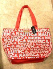 "New NAUTICA Beach Bag Tote Shopper Coral with White ""ISLAND RHYTHM"" X-LARGE"