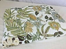 Pottery Barn Twin Duvet Cover Buttons Floral Green Tan Cream Blue Caeserea