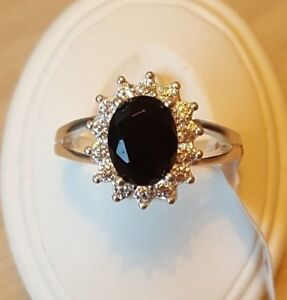 925 Sterling silver CZ GPS Black Sapphire Ring