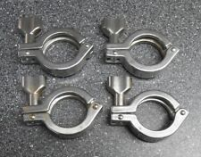 "LOT OF 4 TRICLOVER SINGLE PIN 1"" & 1-1/2"" SS SANITARY CLAMPS 1.984"" OD FERRULE"