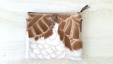 Handmade fur hair on hide leather clutch sling bags phone women removable