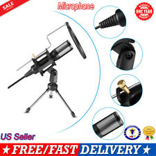 USB Microphone Wired Condenser Mic Studio with Stand Clip for PC Laptop Gaming