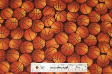 "31"" REMNANT Basketball Basketballs Brown Sports Mens Boys Flannel Fabric (J9) <"