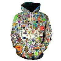 Hot Funny Spongebob 3D Print Hoodies MensWomens Casual Pullover Sweatshirts Tops