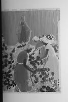 (1) B&W Press Photo Negative Women Gathering Flowers Statue Religious - T5573