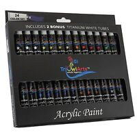 SALE - Acrylic Paint 24 Colors with BONUS 2 Titanium White Tubes - Art Set