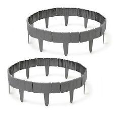 20x Rasenkante Mähkante Kunststoff Beetumrandung Steinoptik grau Raseneinfassung
