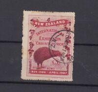 New Zealand 1906/07 3d Kiwi Christchurch Exhibition Cinderella VFU JK2390