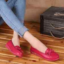 Women Bowknot Leather Flats Shoes Slip On Comfort Casual Oxfords Shoes Loafers K