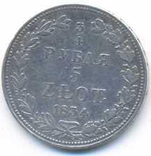 Poland under Russia Silver 5 Zlotych 3/4 Ruble 1834 MW V/VF RARE