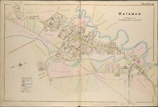1889 MATAWAN, MONMOUTH COUNTY NEW JERSEY, GLENWOOD INSTITUTE COPY PLAT ATLAS MAP