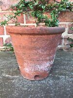 "Rare Old Hand Thrown Vintage Terracotta Plant Pot Side Drainage 8.5"" Diameter"
